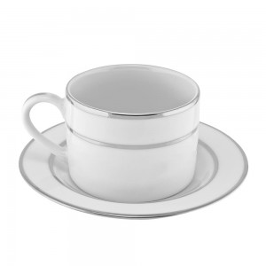 Royal Oval White Oversized Cup/Saucer